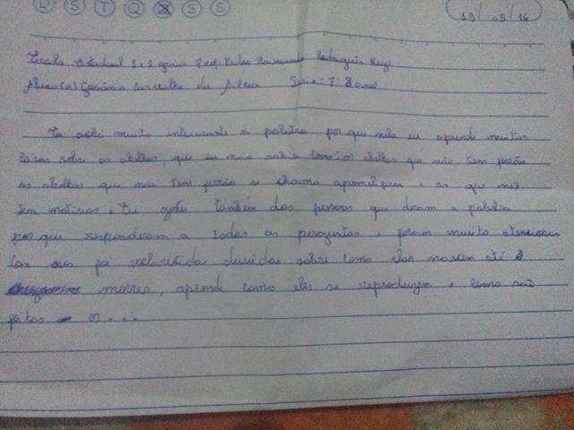 Cuidados e Preservação das Abelhas. Escola Pedro Raimundo Rodrigues Rego. Juazeiro-BA. 19-05-2016