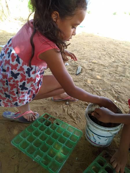 Atividade Horta Agroecológica. Projeto de Ação Comunitária de Sobradinho-BA. 16/10/2019.