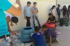 Escola desenvolve reciclagem de pneus e exercita a arte ambiental