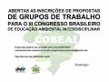 Banner de abertura de propostas de GT