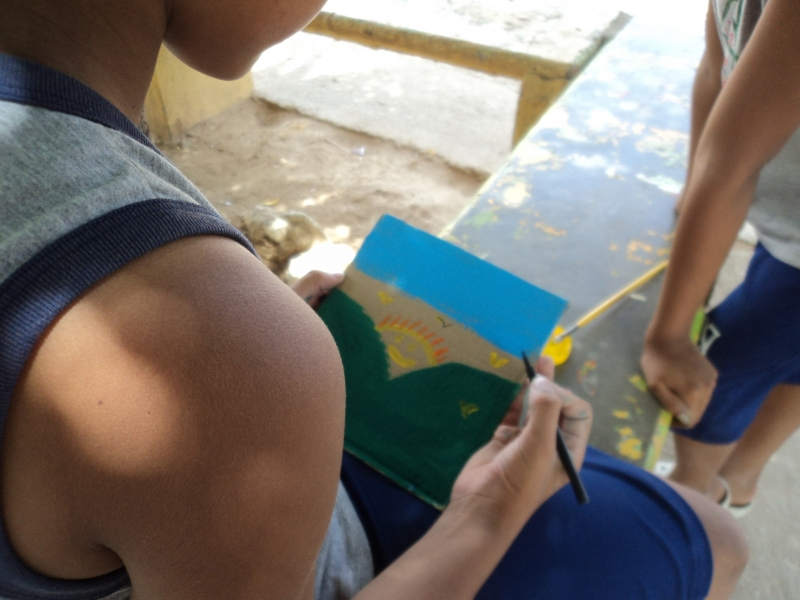 Atividade arte ambiental. Fundação Lar Feliz. Juazeiro-BA. 16/03/2019.