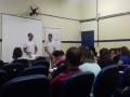 Dentre as ações, os membros do PEV tiraram dúvidas e apresentaram o Projeto a professores (27.02).