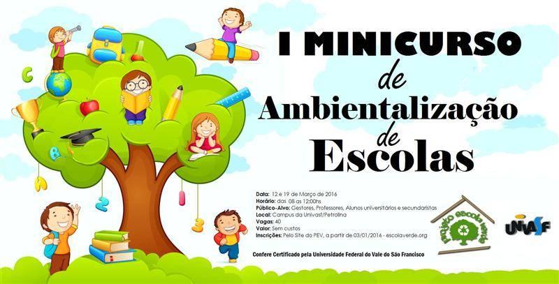 Banner minicurso de ambientalização de escolas