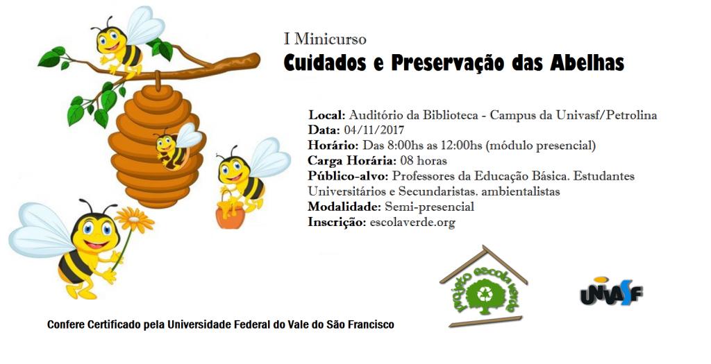 Banner do I Minicurso de Cuidados e Preservação das Abelhas
