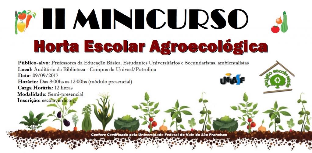 banner do II minicurso de horta escolar agroecológica