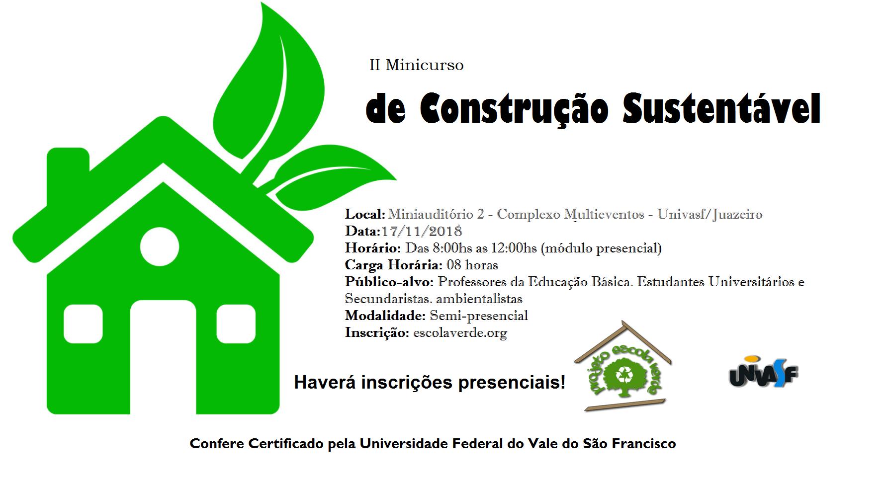 Banner do II Minicurso de Construção Sustentável