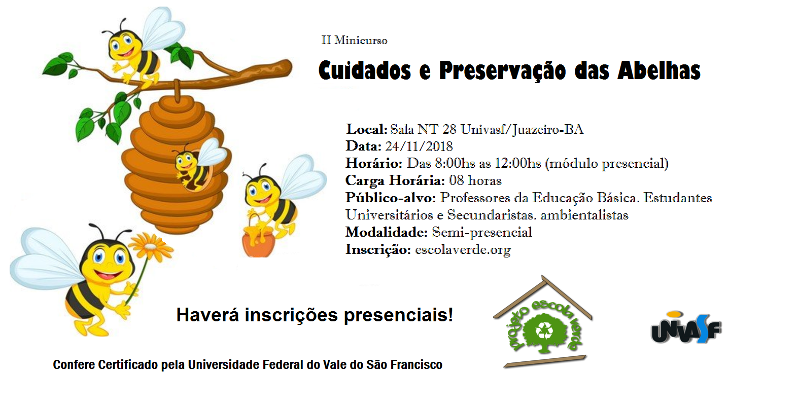Banner do II Minicurso de Cuidados e Preservação das Abelhas