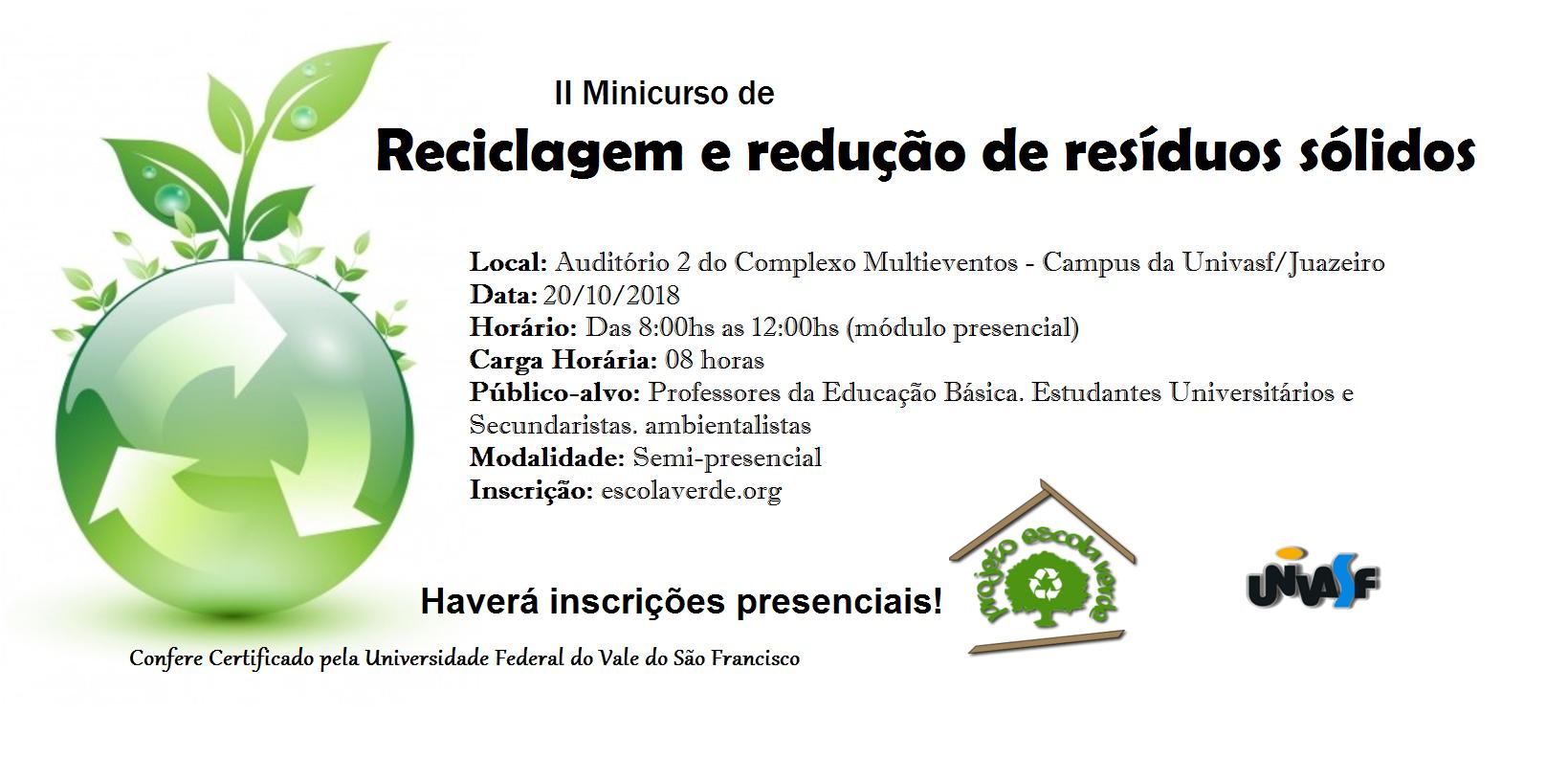 Banner do II Minicurso de Reciclagem