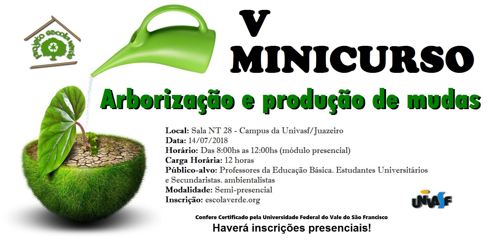 banner V minicurso de produção de mudas e arborização