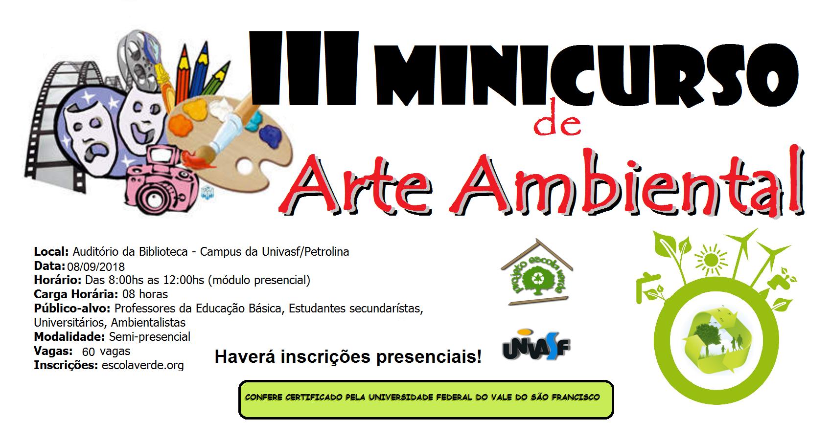 banner do III minicurso de arte ambiental