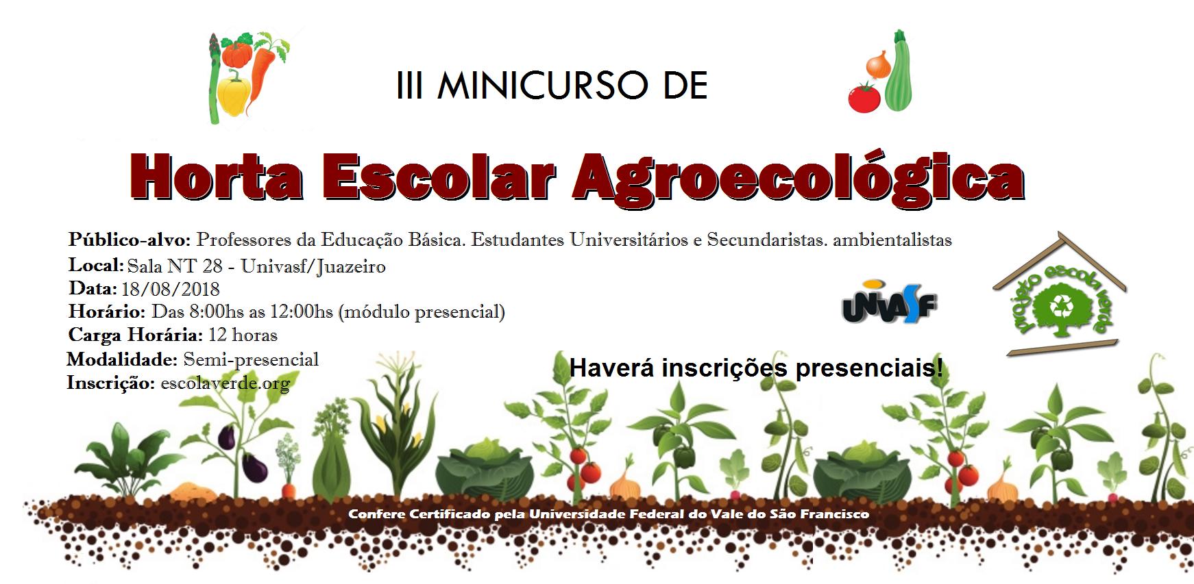 banner do III minicurso de horta escolar agroecológica