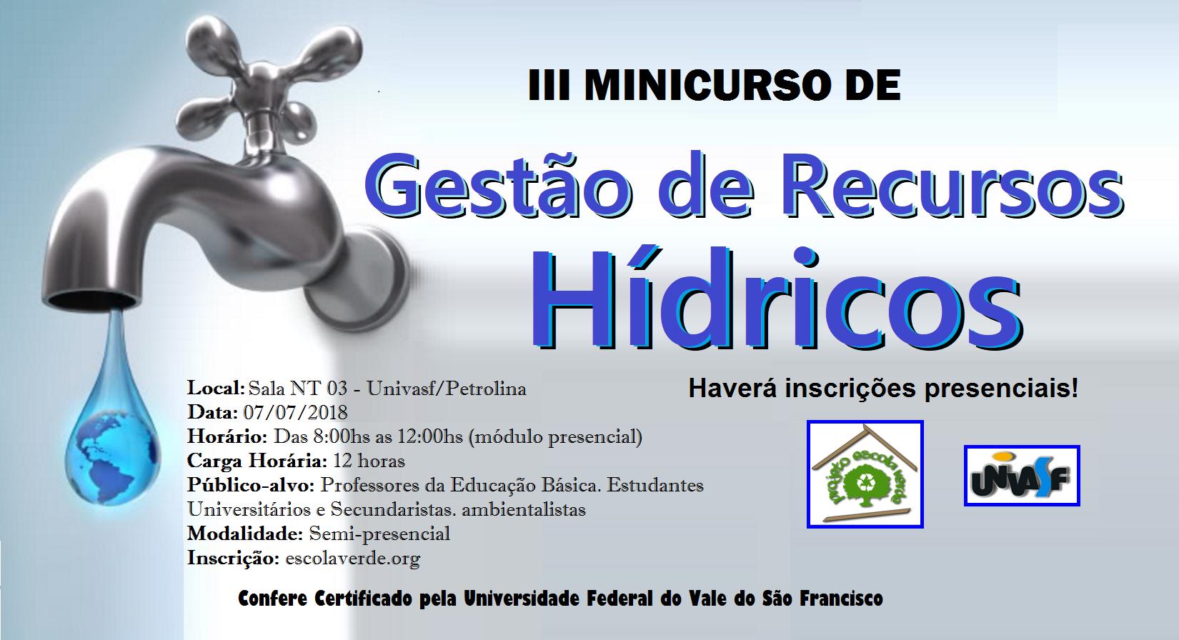 banner do III minicurso de recursos hídricos