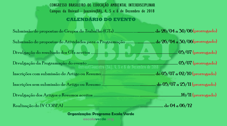Calendário cobeai 2018 - prorrogado 3
